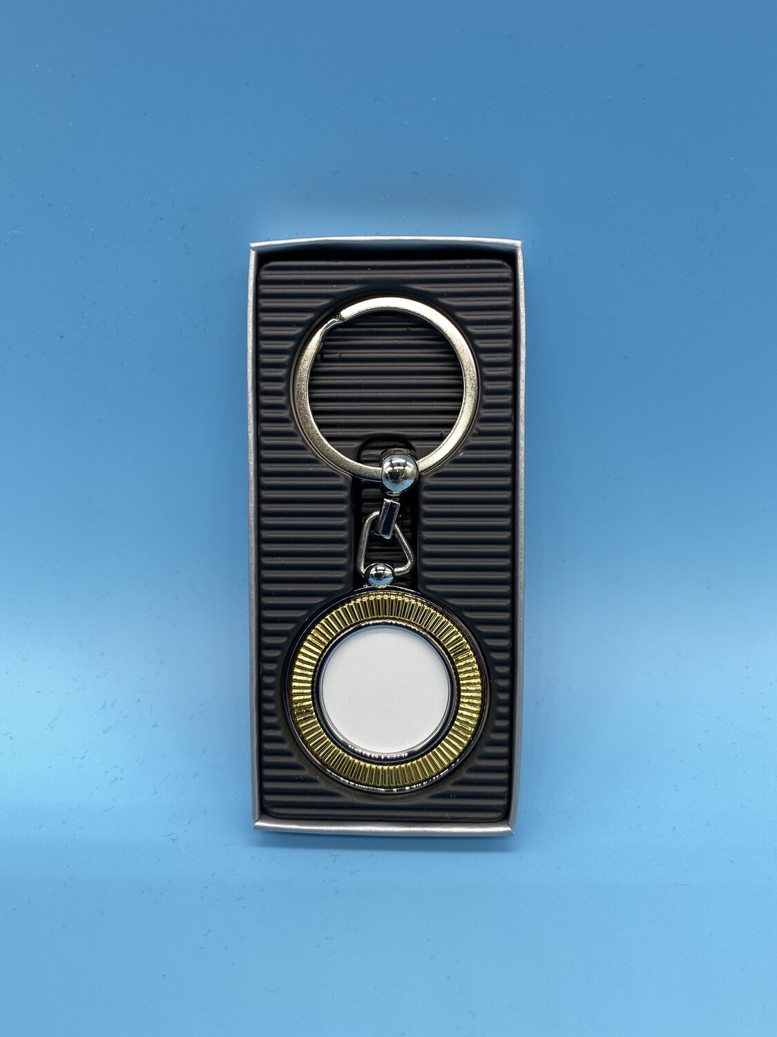 Chrome gold key chain with white blank insert