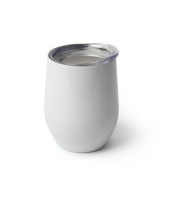 12 oz White blank Stainless stemless wine glass