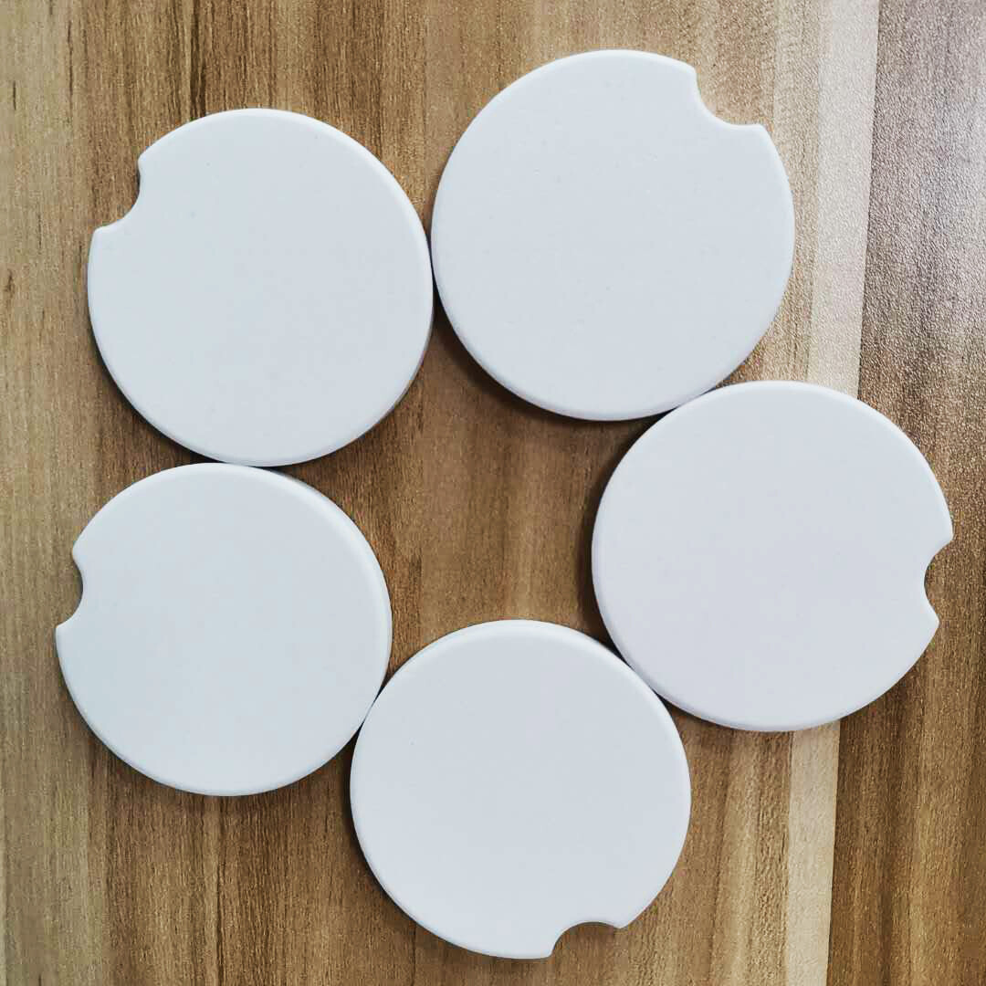 Round ceramic car coaster glossy finish