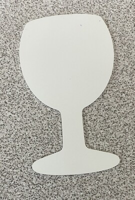Wine glass shaped magnet, with adhesive