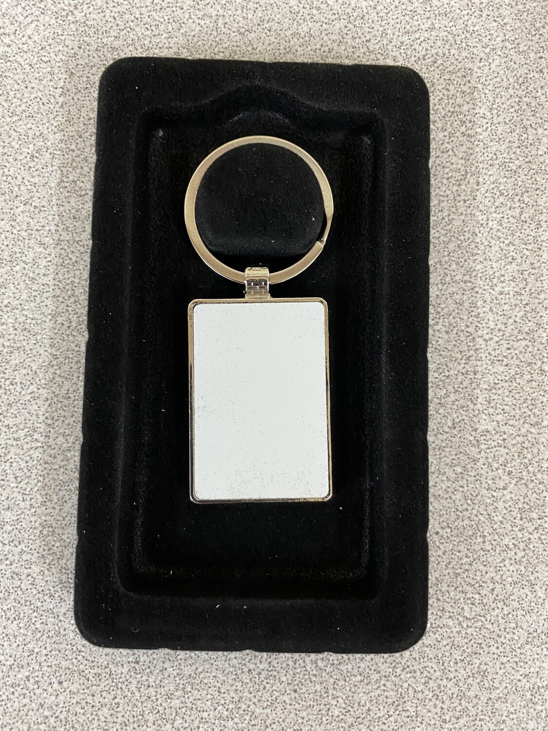 Rectangle silver key ring with aluminium white blank insert