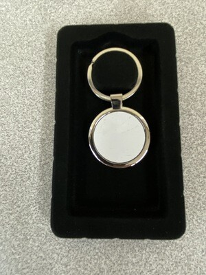 Round silver key ring with aluminium white blank insert