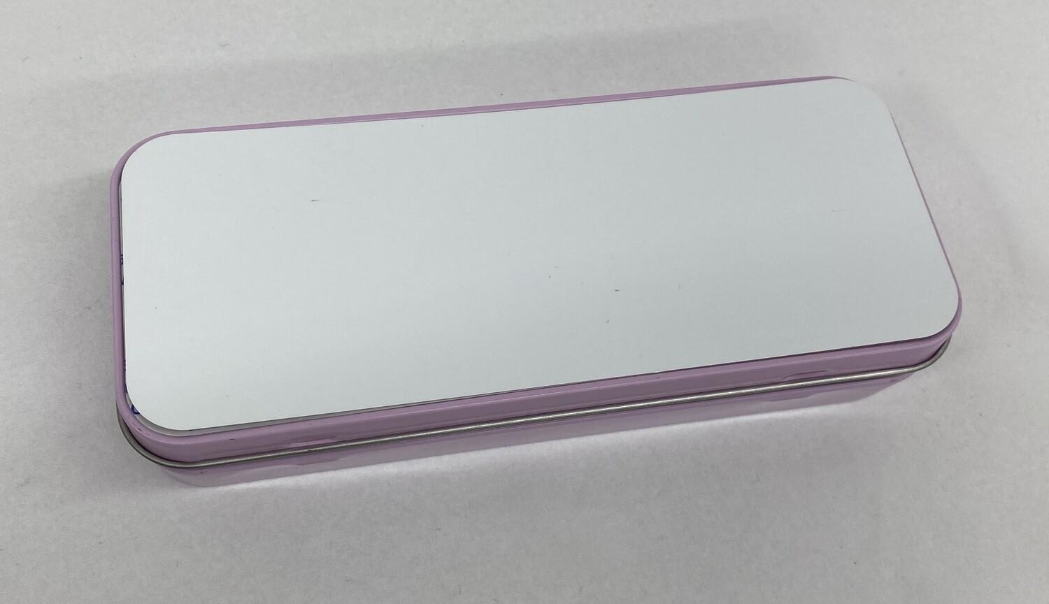 Pink metal pencil tin with blank white insert for girls