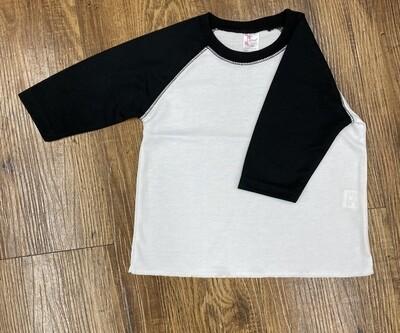 Raglan back and white tshirt
