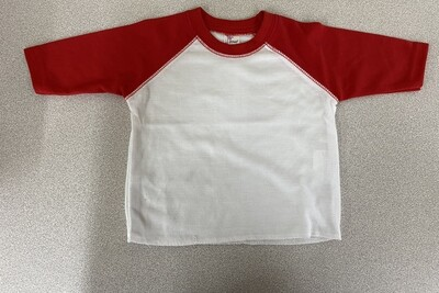 Raglan Red and white tshirt