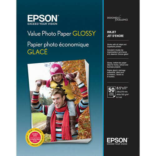 """Epson Value Photo Paper Glossy, 8 X 10"""", 50 sheets"""