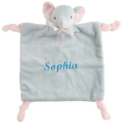 Plush, soft  elephant baby small security blanket /rattle for sublimation