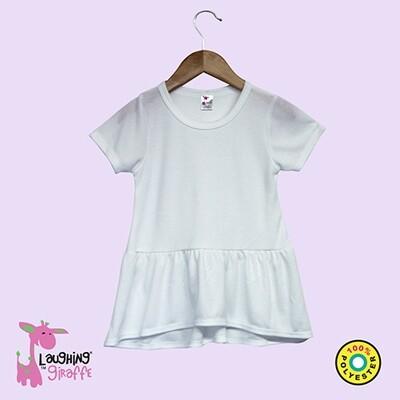Toddler Short Sleeve Peplum Top – White 5T