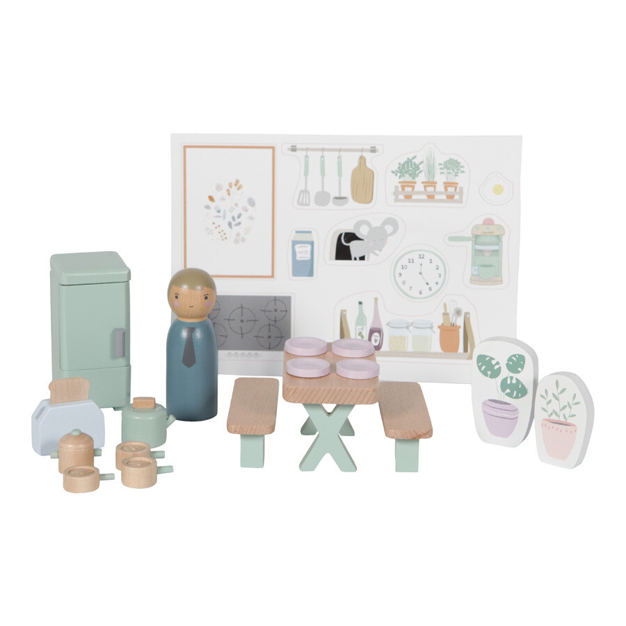 Puppenhaus Einrichtung Küche  19-teilig