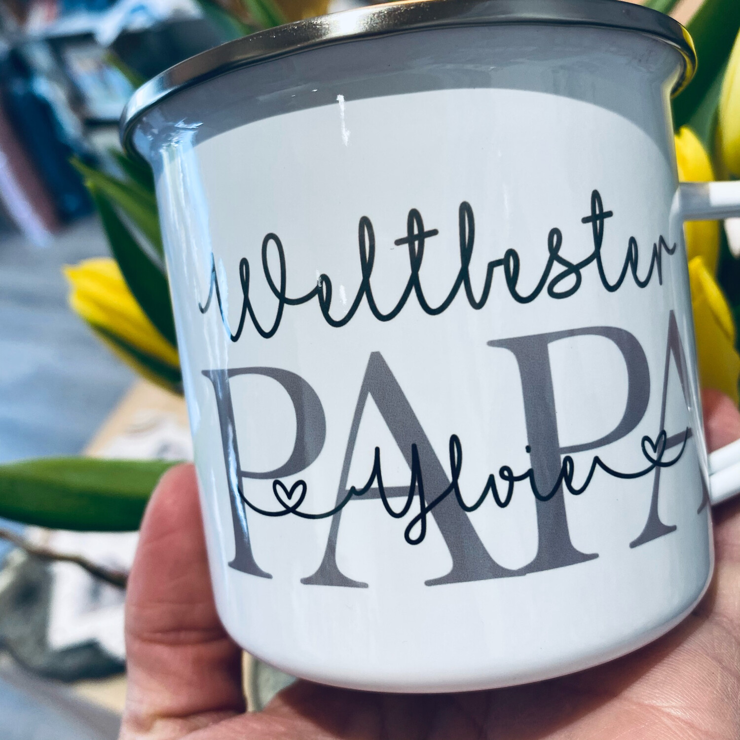 Emaille Tasse WELTBESTER PAPA
