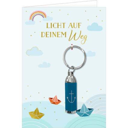 Grußkarte mit Taschenlampe Blau