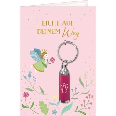 Grußkarte mit Taschenlampe Rosa