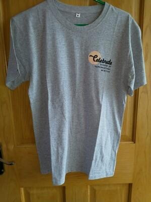 Celebrate School T shirt Grey straight bottom
