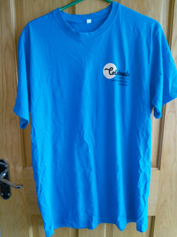 Celebrate T shirt Aqua blue straight bottom