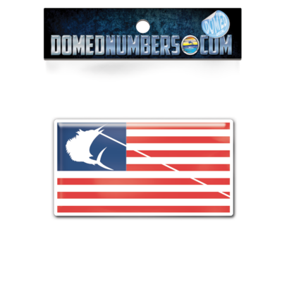 Contender Flag Domed Decal, Choose Your Color & Size