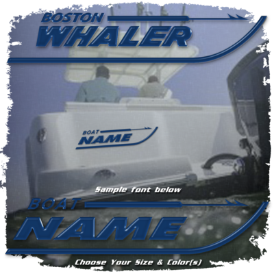 Domed Boat Name in the Boston Whaler Font, Choose Your Own Colors