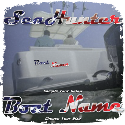 Domed USA Boat Name in the Sea Hunter Font, Choose Your Own Colors