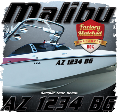 Malibu Registration, 2015-19 Black & Black Chrome Factory Match (2 included)
