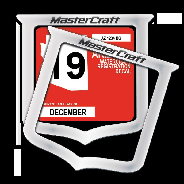 MasterCraft State Registration Frame Domed Decals (2 included)