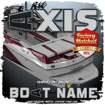 Domed Boat Name in the Axis 2020 - 2021 Factory Match Font
