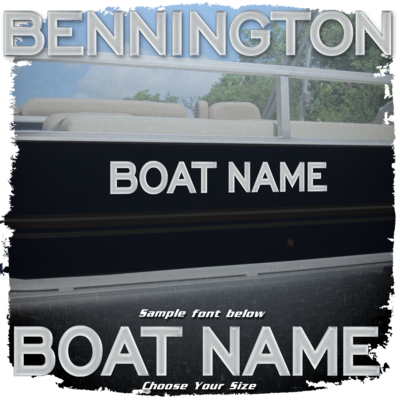 Domed Boat Name in the Bennington 2020 SPORT Factory Matched Font