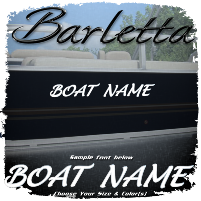 Domed Boat Name in the Barletta Script Font, Choose Your Own Colors
