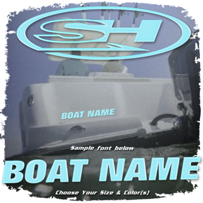 Domed Boat Name in the Sea Hunt Font, Choose Your Own Colors