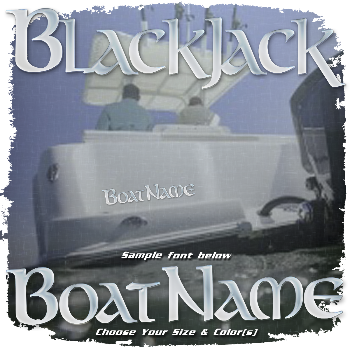 Domed Boat Name in the BlackJack Font, Choose Your Own Colors