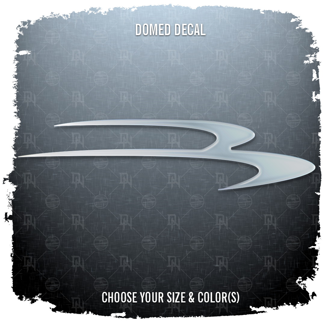 "Domed Bennington ""B"" Swoosh decal, Choose Your Size & Color"