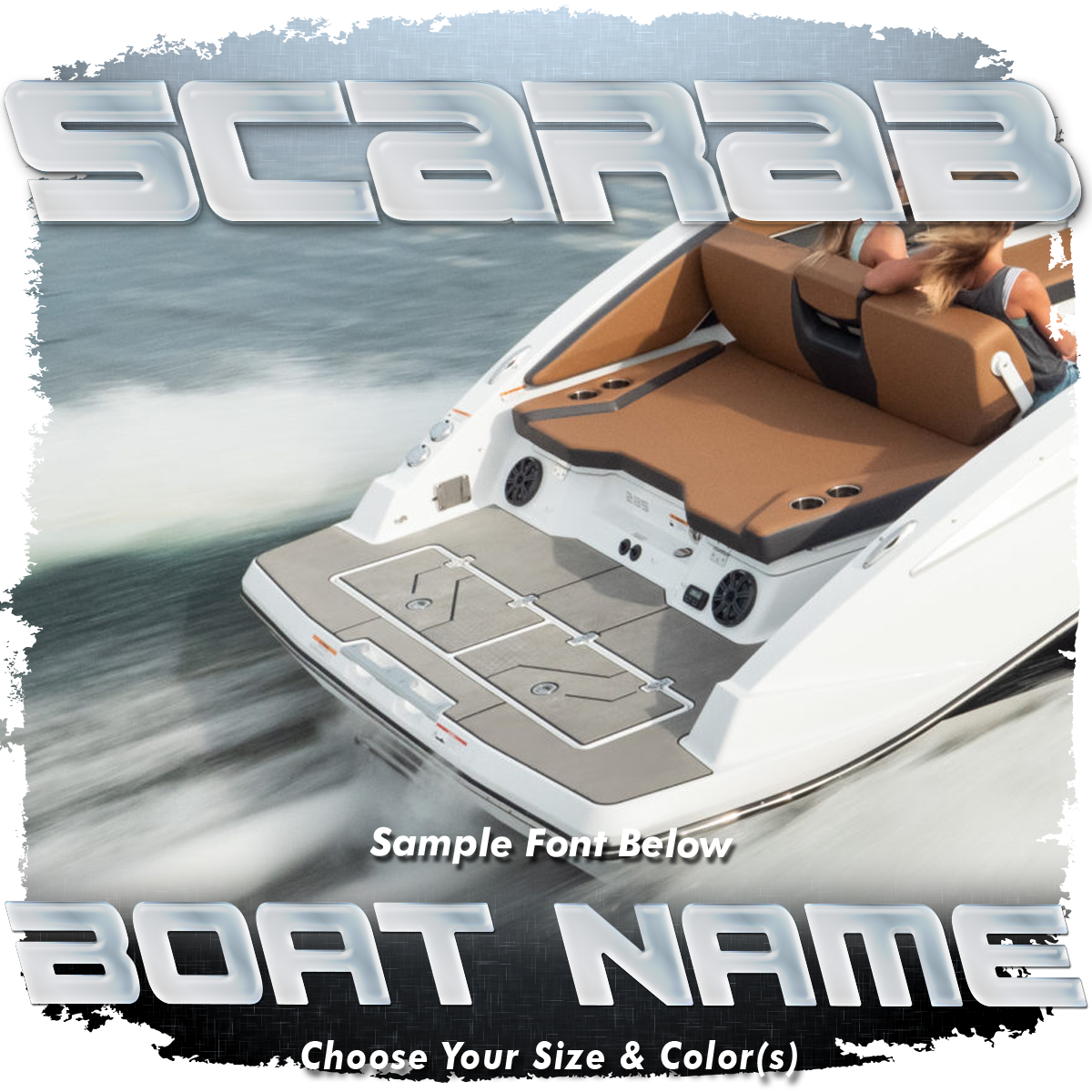 Domed Boat Name in the Scarab Font, Choose Your Own Colors