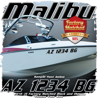 Malibu Registration, 2014-15 Black & Chrome Factory Match (2 included)