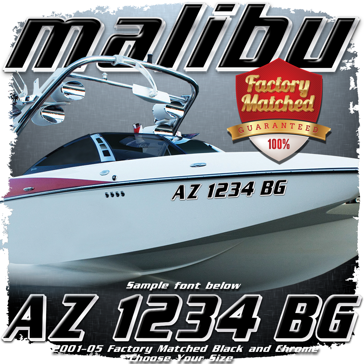 Malibu Registration, 2001-05 Black & Chrome w/ Shadow Factory Match (2 included)