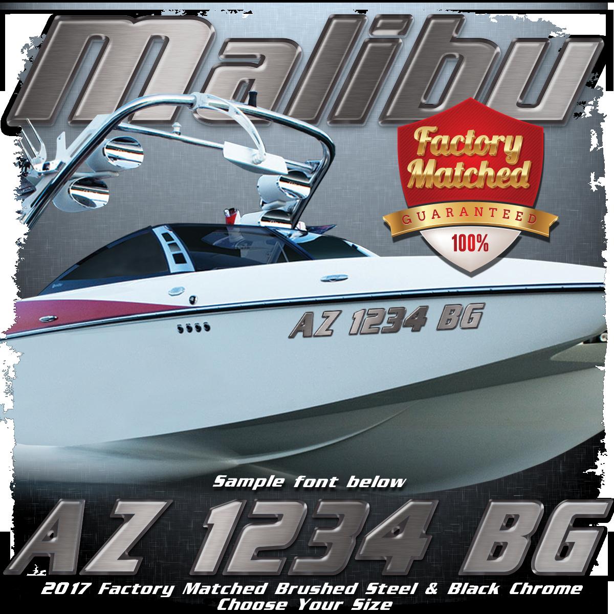 Malibu Registration, Brushed Steel & Black Chrome Factory Match (2 included)