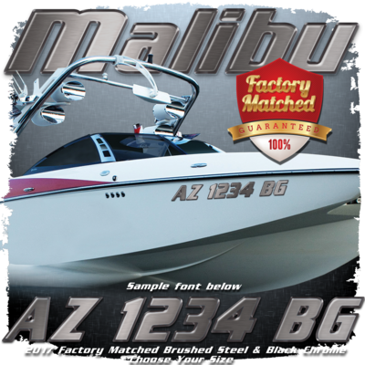 Malibu Registration, Brushed Steel & Black Chrome Factory Match (2 included)