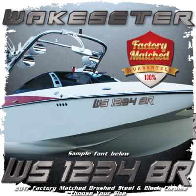 Malibu Wakesetter Registration, 2017-19, Brushed Steel & Black Chrome Factory Match (2 included)