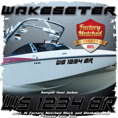 Malibu Wakesetter Registration,  2015-16, Black & Black Chrome Factory Match (2 included)