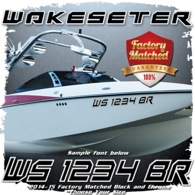 Malibu Wakesetter Registration, 2014-15, Black & Chrome Factory Match (2 included)