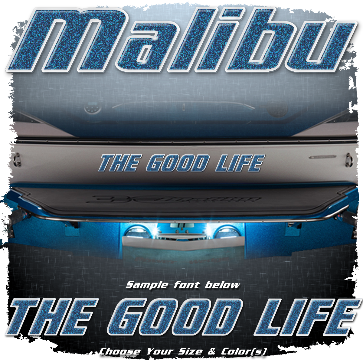 Domed Boat Name in the Malibu Font, Choose Your Own Colors