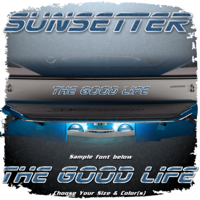 Domed Boat Name in the 2000-05 Sunsetter Font, Choose Your Own Colors