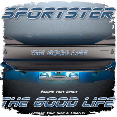 Domed Boat Name in the 2000 Sportster Font, Choose Your Own Colors