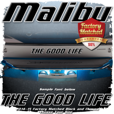 Domed Boat Name in the Malibu Font, 2014-15 Black & Chrome Factory Match