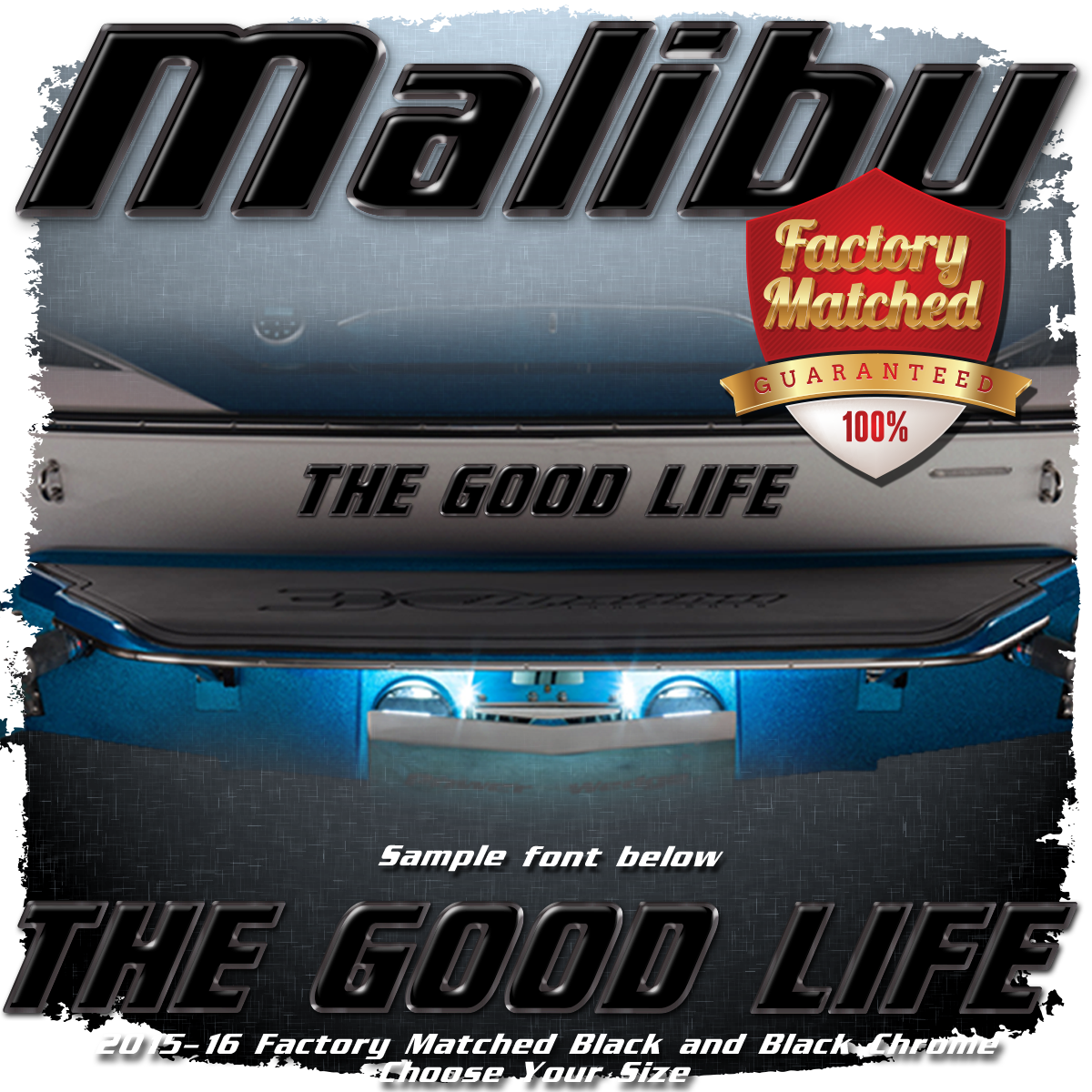 Domed Boat Name in the Malibu Font 2015 -19 Black & Black Chrome Factory Match