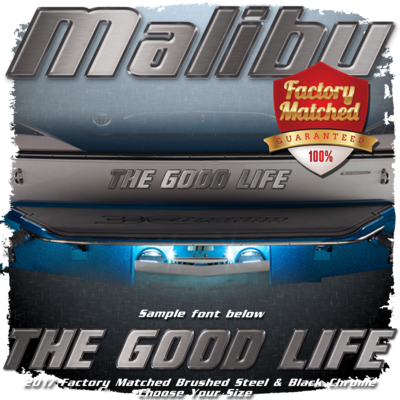 Domed Boat Name in the Malibu Font, 2017-19 Brushed Steel & Black Chrome