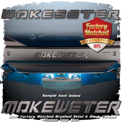 Domed Boat Name in the Wakesetter Font, Brushed Steel & Black Chrome Factory Match