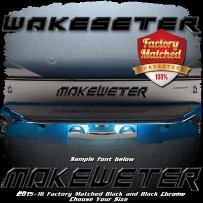 Domed Boat Name in the 2014-17 Wakesetter Font, Black & Black Chrome