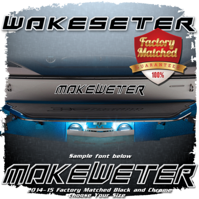 Domed Boat Name in the Wakesetter Font, Black & Chrome Factory Match