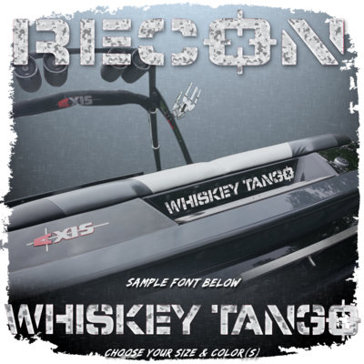 Domed Boat Name in the 2013 Recon Font, Factory Matched Camo