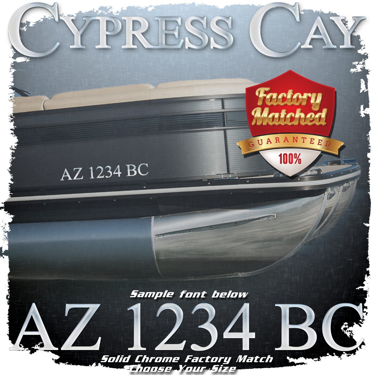 Cypress Cay Registration (2 included), Factory Matched Chrome
