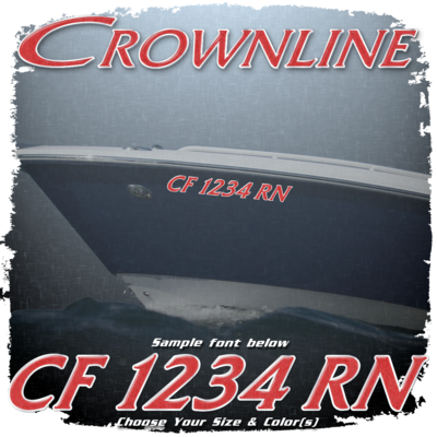 Crownline Registration (2 included), Choose Your Own Colors