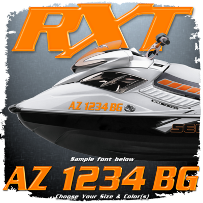 Sea Doo RXT font Registration, Choose Your Own Colors  (2 included)